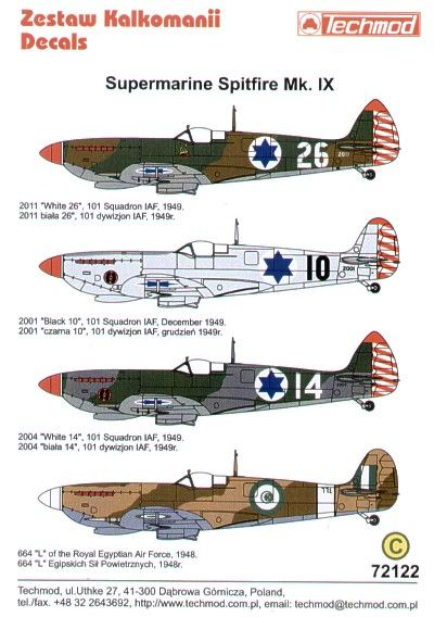 Techmod Decals 1/72 Supermarine Spitfire Mk.IX in Israeli and Egyptian Service # 72122