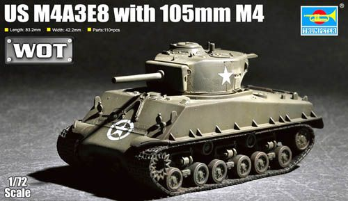 Trumpeter 1/72 US M4A3E8 with 105mm M4 # 07168