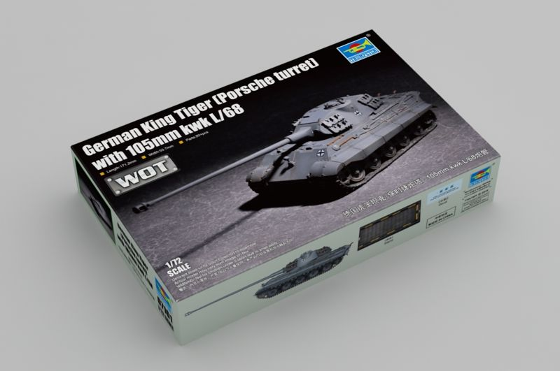 Trumpeter 1/72 WOT German King Tiger (Porsche Turret) with 105mm kwk L/68 # 07161