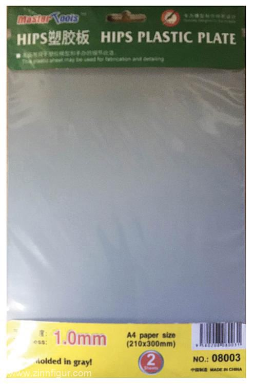 Trumpeter 1.0mm HIPS plastic sheet A4 (210x300mm) x 2 pcs # 08003
