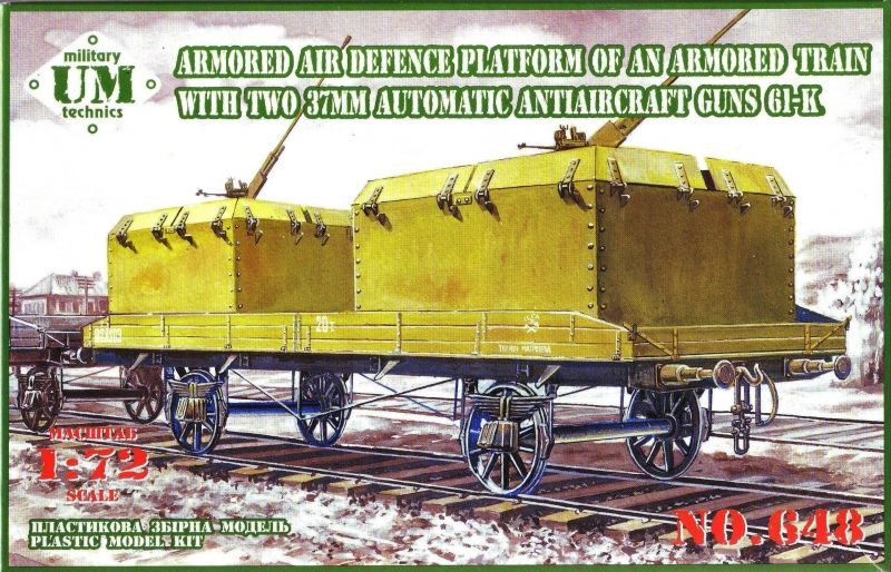 UM-MT 1/72 Armored Air Defence Platform of an Armored Train with 37mm Automatic AA Guns 61-K # 648