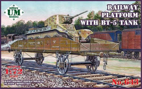 UM-MT 1/72 Flat Rail Way Wagon with BT-5 Tank # 643