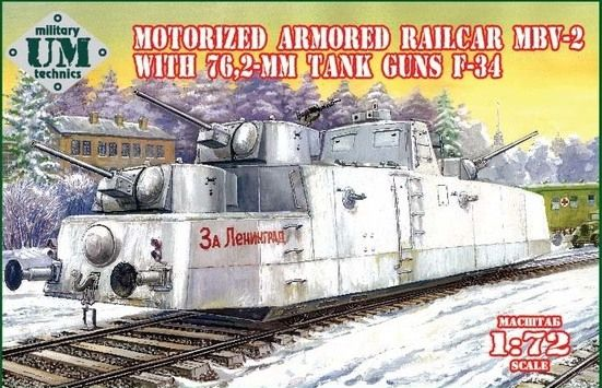 UM-MT 1/72 Motorized Armored Railcar MBV-2 with 76,2mm Tank Guns F-34 # 677