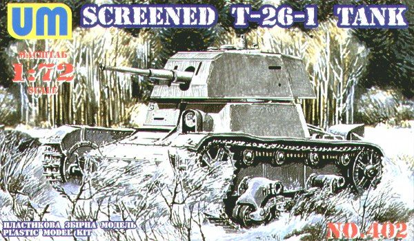 UM-MT 1/72 Russian T-26-1 Light Tank with Conical Turret & Extra Armour # 402