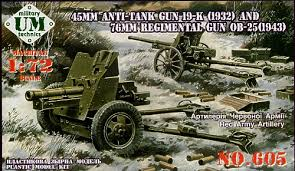 Unimodel 1/72 45mm AT Gun 19-K and 76mm Gun OB-25 # 605