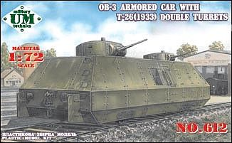 Unimodel 1/72 OB-3 Armoured Car T-26 1933 Double Turrets # 612