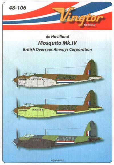 Vingtor 1/48 de Havilland Mosquito Mk.IV British Overseas Airway