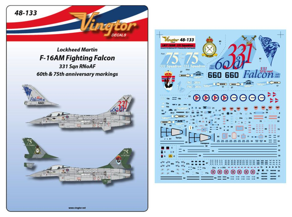 Vingtor 1/48 Lockheed Martin F-16AM Fighting Falcon # 48133