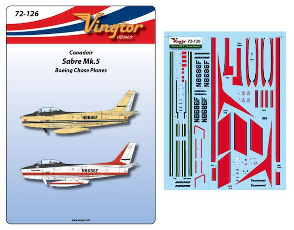 Vingtor 1/72 Canadair Sabre Mk.5 - Boeing Chase Planes # 72126
