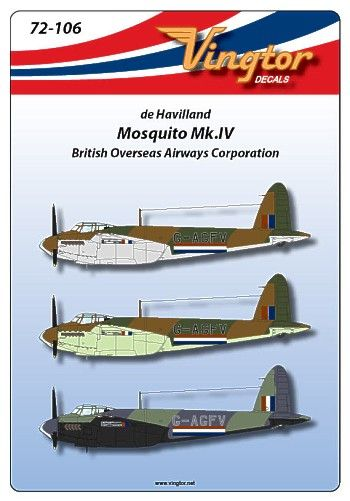 Vingtor 1/72 de Havilland Mosquito Mk.IV British Overseas Airway