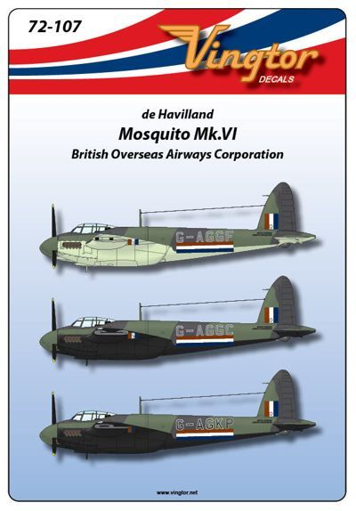 Vingtor 1/72 de Havilland Mosquito Mk.VI, British Overseas Airwa