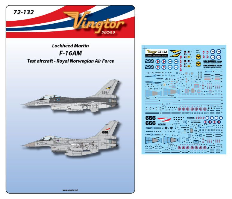 Vingtor 1/72 Lockheed-Martin F-16AM - RNoAF Test Aircraft # 72132