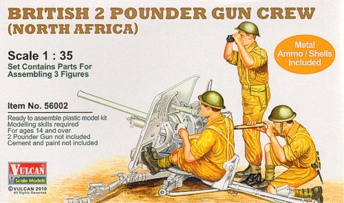 Vulcan 1/35 British 2 Pounder Gun Crew (North Africa) # 56002