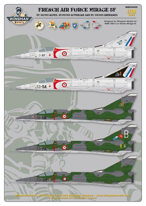 Wingman Decals 1/48 French Air Force Mirage 5F # D48008