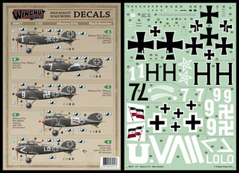 Wingnut Wings 1/32 Albatros D.Va 'Black Beauties' Decals # 30017