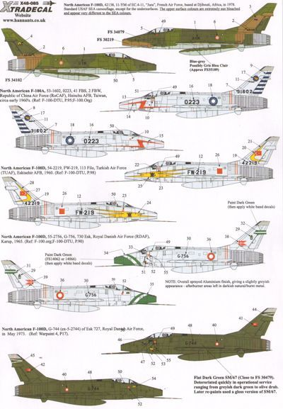 Xtradecal 1/48 F-100D Super Sabre Part 3 In Foreign Service # 48