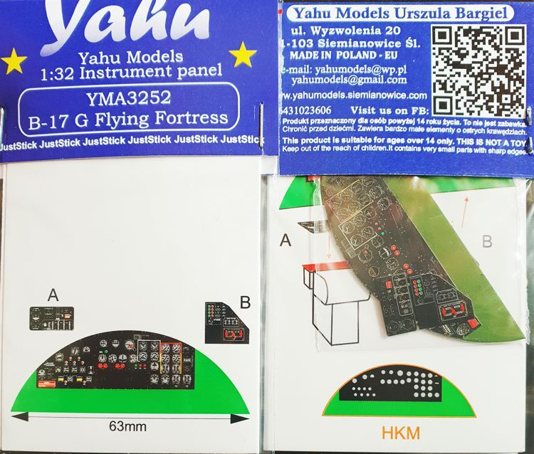 Yahu Models 1/32 Boeing B-17G Flying Fortress Instrument Panel # YMA3252