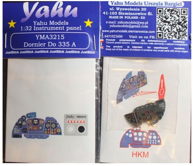 Yahu Models 1/32 Dornier Do-335B-2/Do-335A Photoetched Instrument Panels # YMA3215