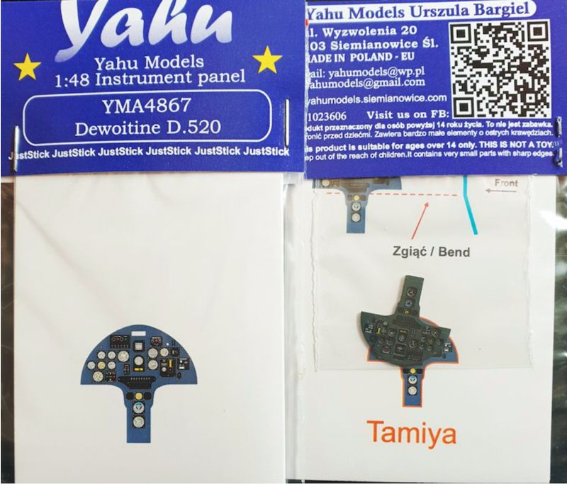 Yahu Models 1/48 Dewoitine D.520 Instrument Panel # YMA4867
