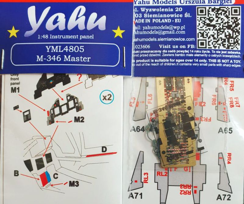Yahu Models 1/48 M-346 Master Advanced Fighter Instrument Panel # YML4805