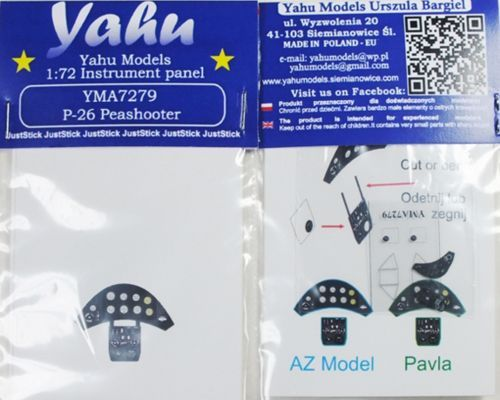 Yahu Models 1/72 Boeing P-26A Peashooter Photoetched Instrument Panels # YMA7279