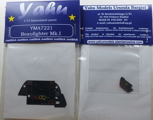 Yahu Models 1/72 Bristol Beaufighter Mk.I Photoetched Instrument Panels # YMA7221