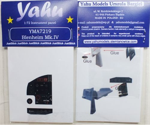 Yahu Models 1/72 Bristol Blenheim Mk.IV Photoetched Instrument Panels # YMA7219