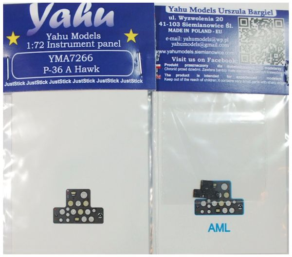 Yahu Models 1/72 Curtiss P-36A Hawk Photoetched Instrument Panels # YMA7266