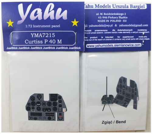 Yahu Models 1/72 Curtiss P-40M Photoetched Instrument Panels # YMA7215