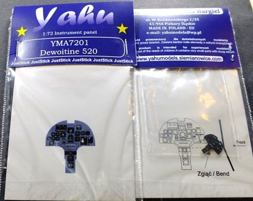 Yahu Models 1/72 Dewoitine D.520 Photoetched Instrument Panels # YMA7201