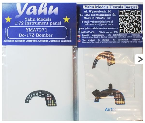 Yahu Models 1/72 Dornier Do-17Z Bomber Photoetched Instrument Panels # YMA7271