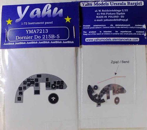 Yahu Models 1/72 Dornier Do-215B-5 Photoetched Instrument Panels # YMA7213