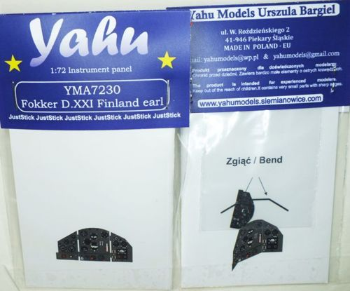 Yahu Models 1/72 Fokker D.XXI Finland Early Photoetched Instrument Panels # YMA7230