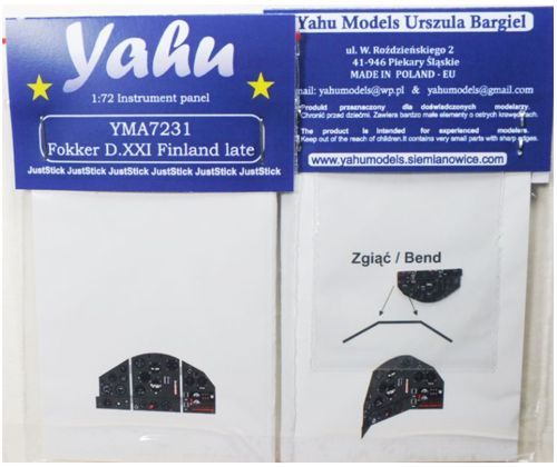Yahu Models 1/72 Fokker D.XXI Finland Late Photoetched Instrument Panels # YMA7231