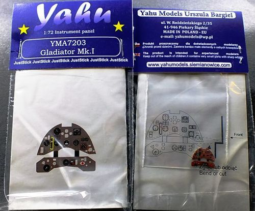 Yahu Models 1/72 Gloster Gladiator Mk.I Photoetched Instrument Panels # YMA7203
