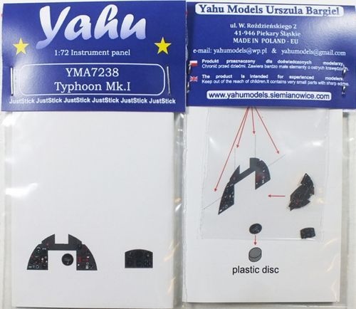 Yahu Models 1/72 Hawker Typhoon Mk.I Photoetched Instrument Panels # YMA7238