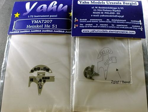 Yahu Models 1/72 Heinkel He-51A-1/He-51B-2 Photoetched Instrument Panels # YMA7207