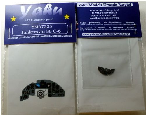 Yahu Models 1/72 Junkers Ju-88C-6 Photoetched Instrument Panels # YMA7225