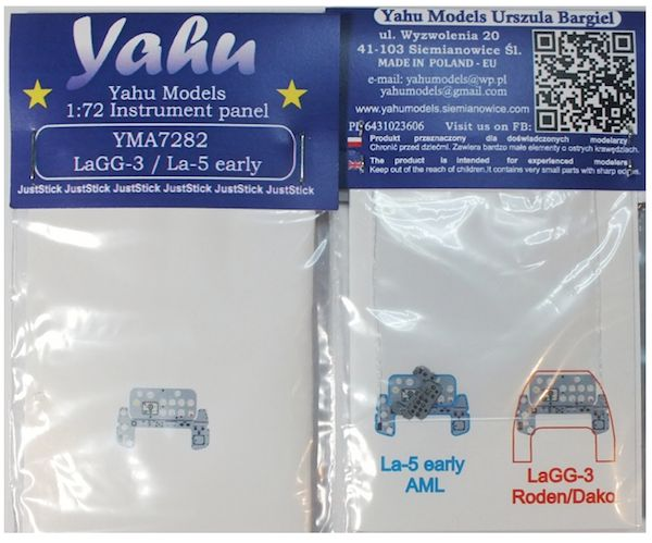 Yahu Models 1/72 Lavochkin LaGG-3 & La-5 early Photoetched Instrument Panels # YMA7282