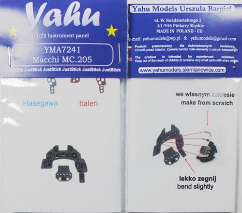 Yahu Models 1/72 Macchi C.205 Photoetched Instrument Panels # YMA7241