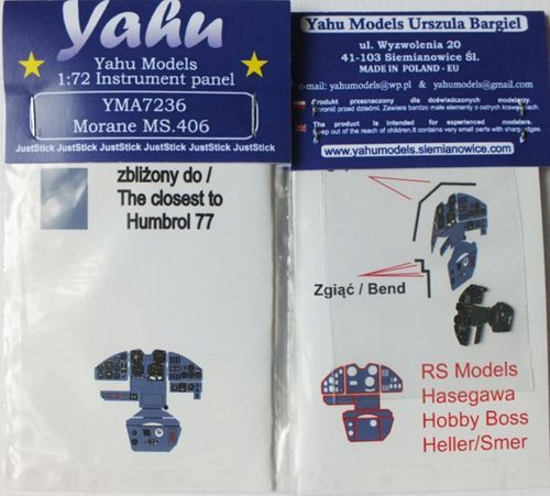 Yahu Models 1/72 Morane-Saulnier MS.406C1 Photoetched Instrument Panels # YMA7236