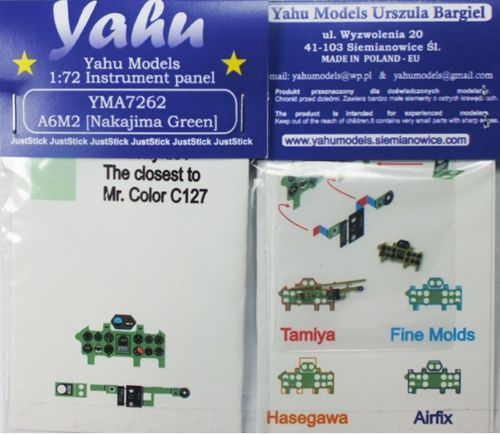 Yahu Models 1/72 Nakajima A6M2 'Zero' Photoetched Instrument Panels # YMA7262