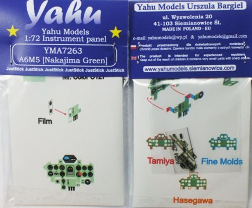 Yahu Models 1/72 Nakajima A6M5 'Zero' Photoetched Instrument Panels # YMA7263