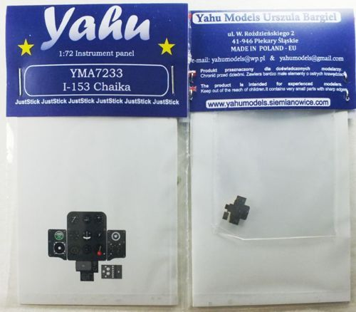 Yahu Models 1/72 Polikarpov I-153 Chaika Photoetched Instrument Panels # YMA7233