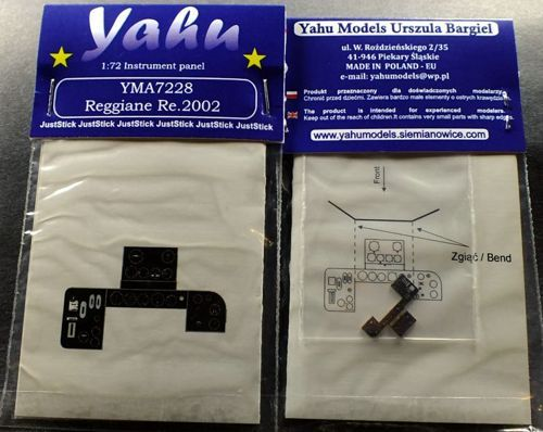 Yahu Models 1/72 Reggiane Re.2002 Photoetched Instrument Panels # YMA7228