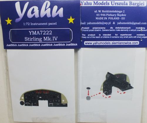 Yahu Models 1/72 Short Stirling MK.IV Photoetched Instrument Panels # YMA7222