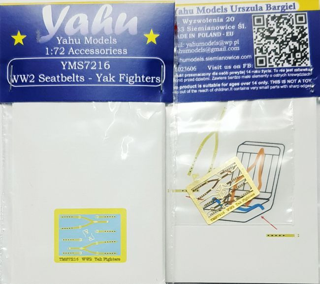 Yahu Models 1/72 WWII Seatbelts for Sukhoi and Yak Fighters # YMS7216